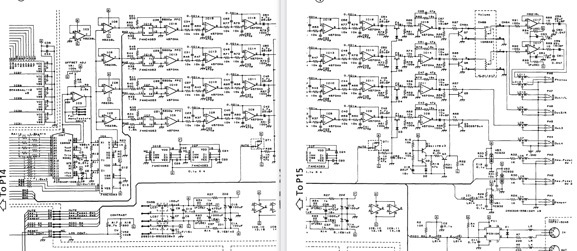 D/A (DAC) Section of Korg Wavestation schematic